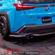 Lexus UX 250h ux200 ux250 f sport base model 2018 2019 2020 2021 rear disffuser lip kit with as seen at sema show 2018 Nia Auto Design bumper extension body kit